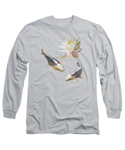Silver And Red Koi With Water Lily Long Sleeve T-Shirt by Gill Billington