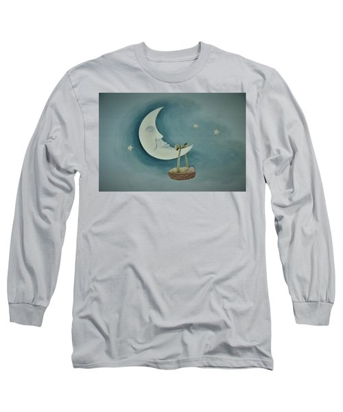 Silver Moon With Picnic Basket Long Sleeve T-Shirt