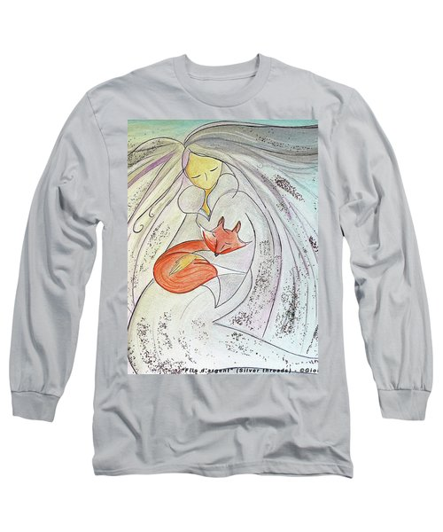 Long Sleeve T-Shirt featuring the painting Silver Threads by Gioia Albano