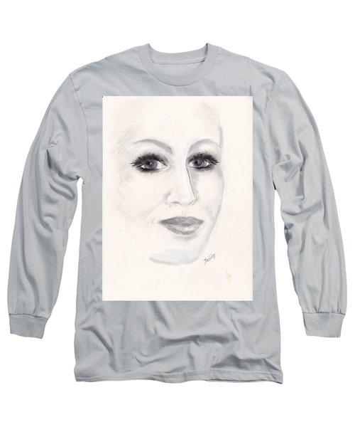 Long Sleeve T-Shirt featuring the drawing Simply Woman by Desline Vitto