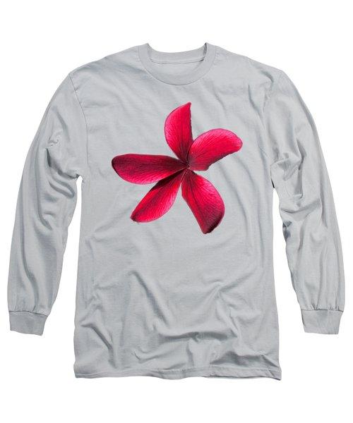 Single Red Plumeria Long Sleeve T-Shirt