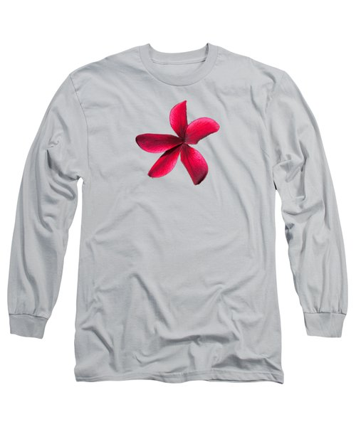 Single Red Plumeria Long Sleeve T-Shirt