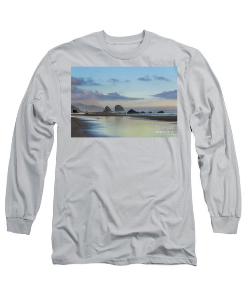 Skimming Along The Beach At Sunset Long Sleeve T-Shirt