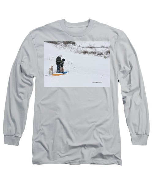 Long Sleeve T-Shirt featuring the photograph Sledding by Denise Romano
