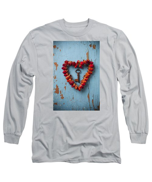 Small Rose Heart Wreath With Key Long Sleeve T-Shirt by Garry Gay