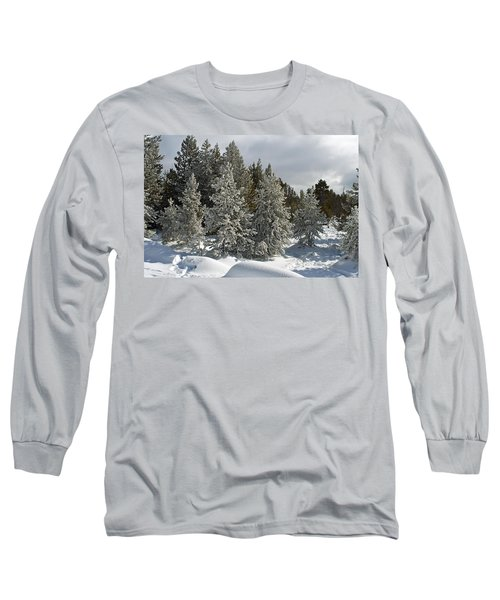 Snow And Ice Covered Evergreens At Sunset Lake  Long Sleeve T-Shirt