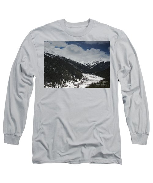 Snow At Independence Pass Colorado Highway 82 Long Sleeve T-Shirt by Nature Scapes Fine Art