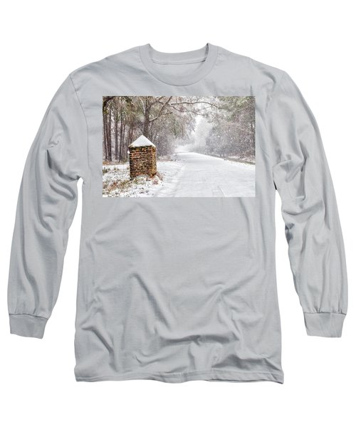 Snow Covered Brick Pillar Long Sleeve T-Shirt