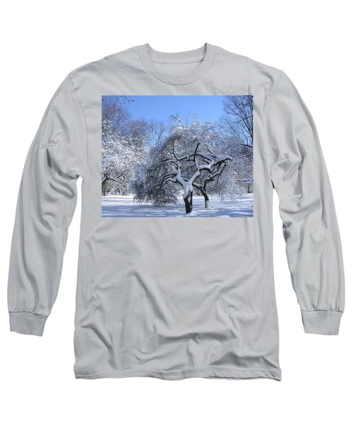 Long Sleeve T-Shirt featuring the photograph Snow-covered Sunlit Apple Trees by Byron Varvarigos