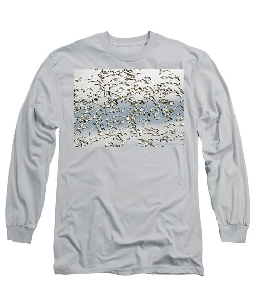 Long Sleeve T-Shirt featuring the photograph Snow Goose Storm by Mike Dawson