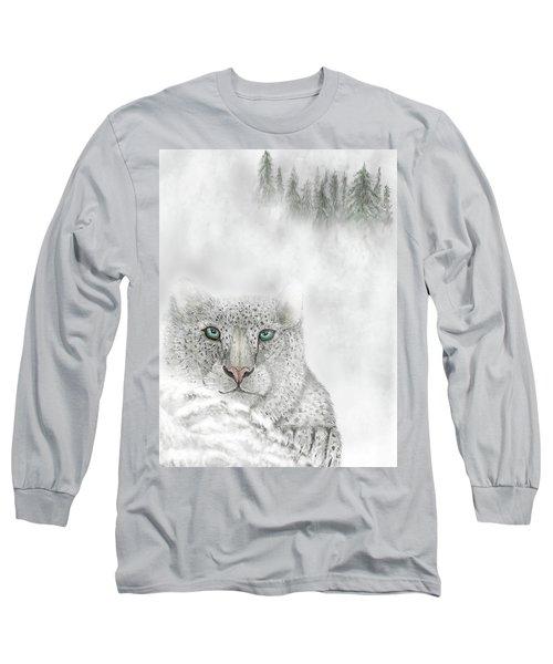 Long Sleeve T-Shirt featuring the digital art Snow Leopard by Darren Cannell