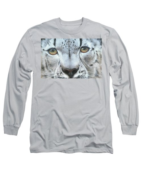 Long Sleeve T-Shirt featuring the painting Snow Leopard by Mike Brown