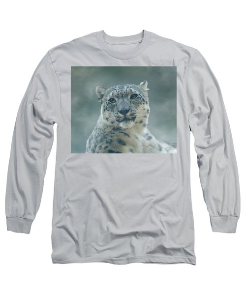 Long Sleeve T-Shirt featuring the photograph Snow Leopard Portrait by Sandy Keeton