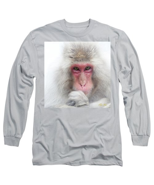 Long Sleeve T-Shirt featuring the photograph Snow Monkey Consideration by Rikk Flohr