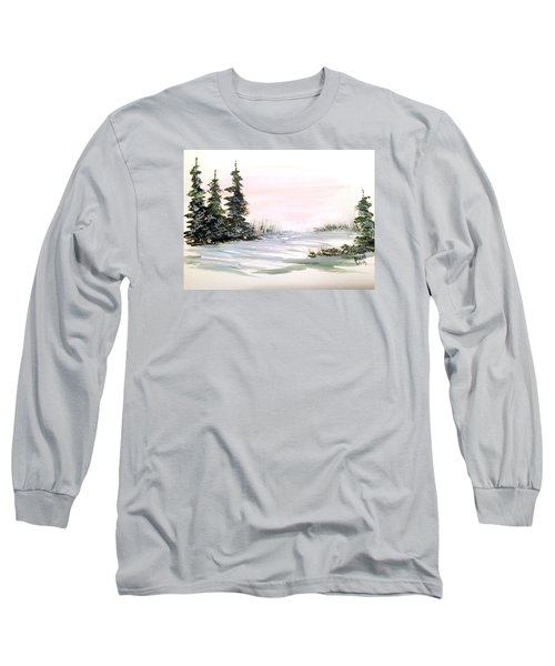 Long Sleeve T-Shirt featuring the painting Snow Over The Pasture by Dorothy Maier