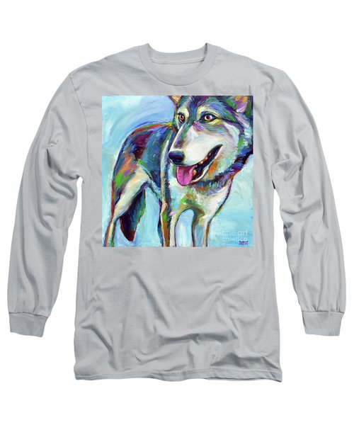 Long Sleeve T-Shirt featuring the painting Snow Wolf by Robert Phelps