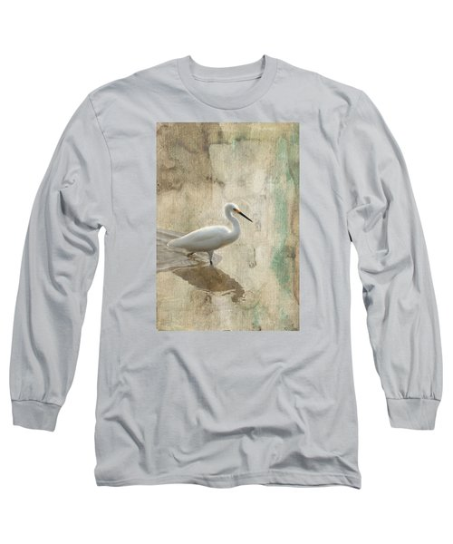 Long Sleeve T-Shirt featuring the mixed media Snowy Egret In Grunge by Rosalie Scanlon
