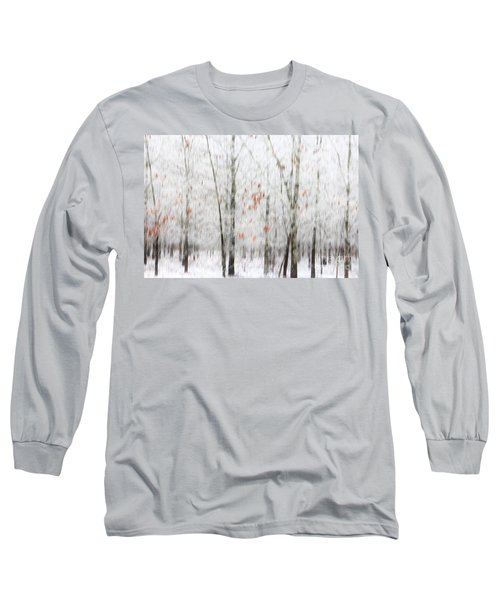 Long Sleeve T-Shirt featuring the photograph Snowy Trees Abstract by Benanne Stiens