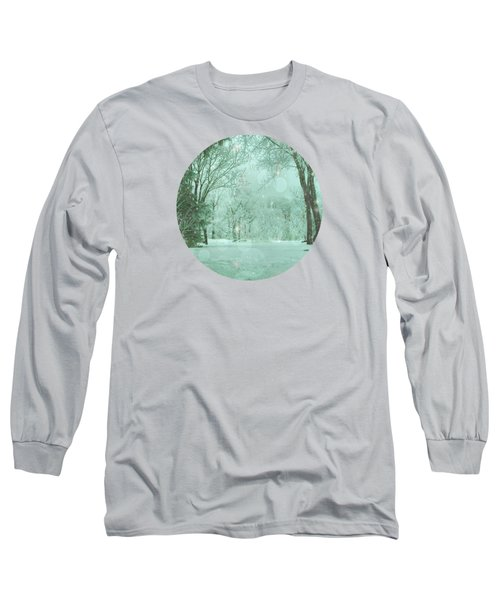 Snowy Winter Night Long Sleeve T-Shirt by Mary Wolf