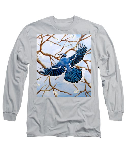 Long Sleeve T-Shirt featuring the painting Soaring Blue Jay  by Teresa Wing