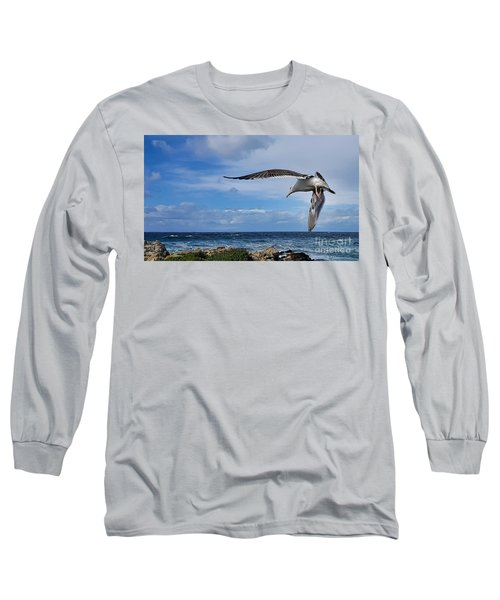 Long Sleeve T-Shirt featuring the photograph Soaring Seagull  by Gina Savage