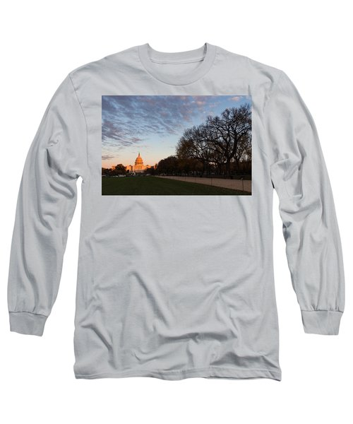 Soft Orange Glow - U S Capitol And The National Mall At Sunset Long Sleeve T-Shirt