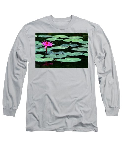 Solitary Water Lily Long Sleeve T-Shirt by Laurel Talabere