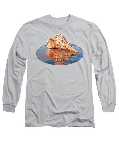 Sounds Of The Ocean - Trumpet Triton Seashell Long Sleeve T-Shirt by Gill Billington
