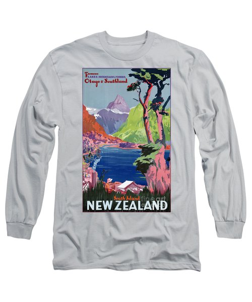 South Island New Zealand Vintage Poster Restored Long Sleeve T-Shirt