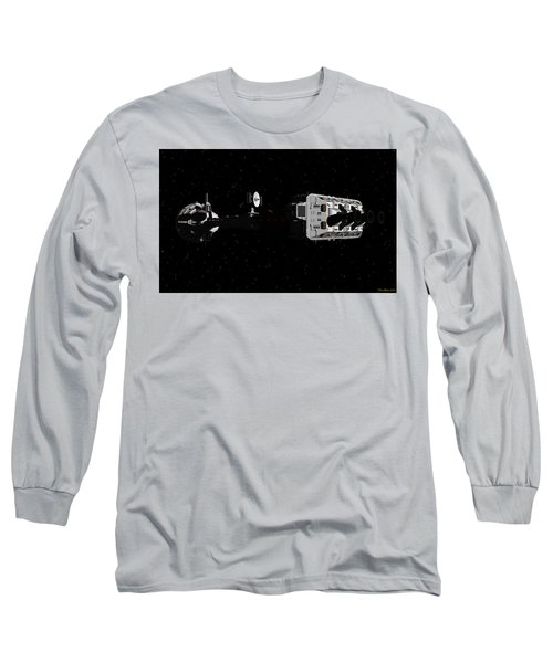 Long Sleeve T-Shirt featuring the digital art Spaceship Uss Cumberland Traveling Through Deep Space by David Robinson