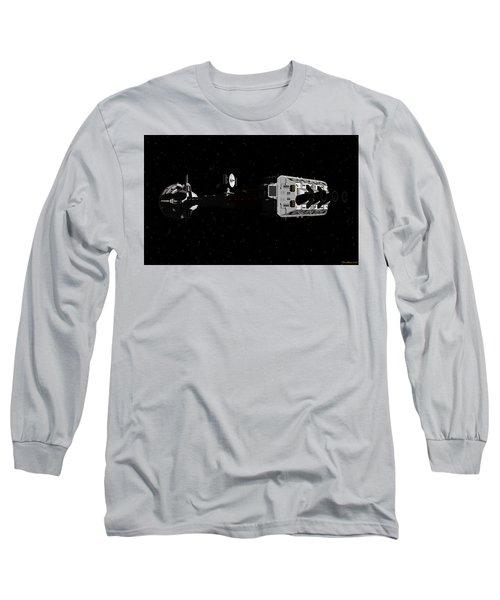 Spaceship Uss Cumberland Traveling Through Deep Space Long Sleeve T-Shirt by David Robinson