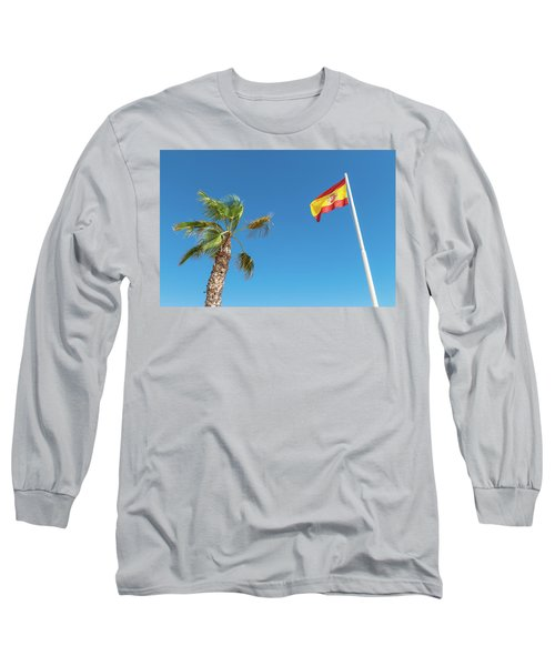 Spanish Flag And Palm Tree In The Blue Sky Long Sleeve T-Shirt by GoodMood Art