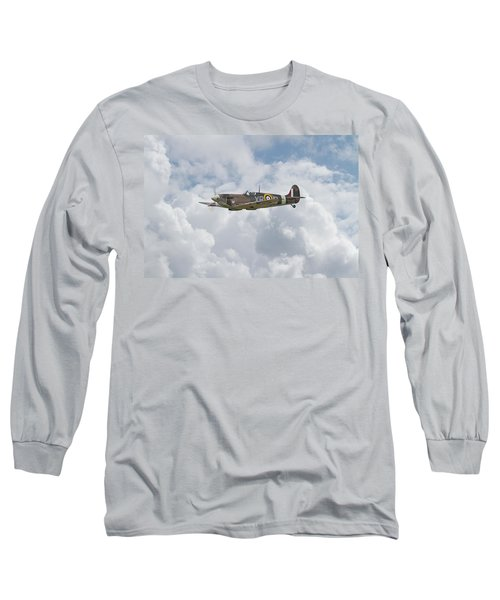 Long Sleeve T-Shirt featuring the digital art   Spifire - Us Eagle Squadron by Pat Speirs
