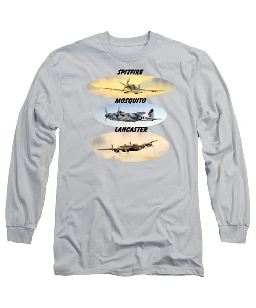 Spitfire Mosquito Lancaster Aircraft With Name Banners Long Sleeve T-Shirt by Bill Holkham