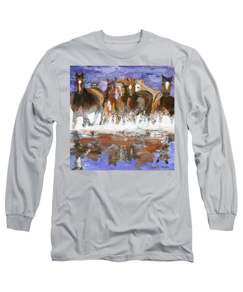 Long Sleeve T-Shirt featuring the painting Splashing Around by Jamie Frier