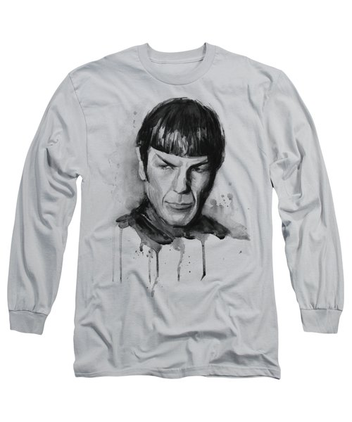 Spock Portrait Watercolor Star Trek Fan Art Long Sleeve T-Shirt by Olga Shvartsur