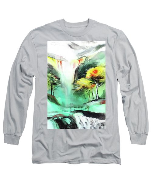 Long Sleeve T-Shirt featuring the painting Spring Fall by Anil Nene