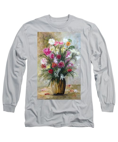 Long Sleeve T-Shirt featuring the painting Spring Flowers by Renate Voigt