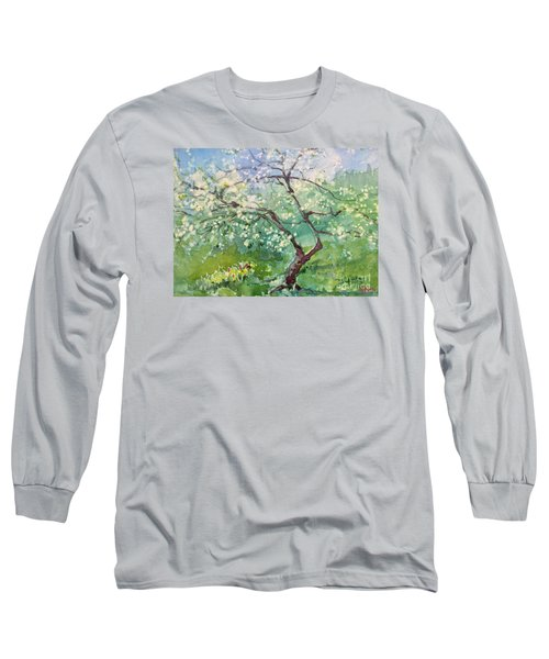 Long Sleeve T-Shirt featuring the painting Spring Plum by Elizabeth Carr