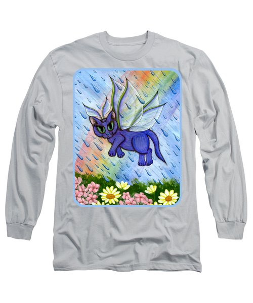Long Sleeve T-Shirt featuring the painting Spring Showers Fairy Cat by Carrie Hawks