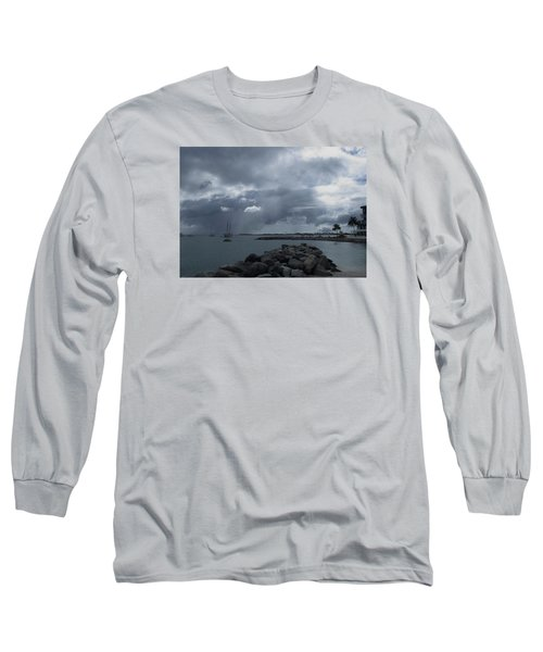 Squall In Simpson Bay St Maarten Long Sleeve T-Shirt by Christopher Kirby