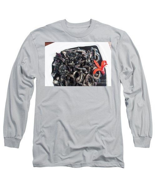 Long Sleeve T-Shirt featuring the photograph Squid In Ink by Atiketta Sangasaeng