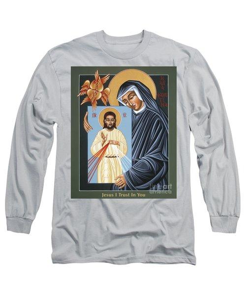 St Faustina Kowalska Apostle Of Divine Mercy 094 Long Sleeve T-Shirt