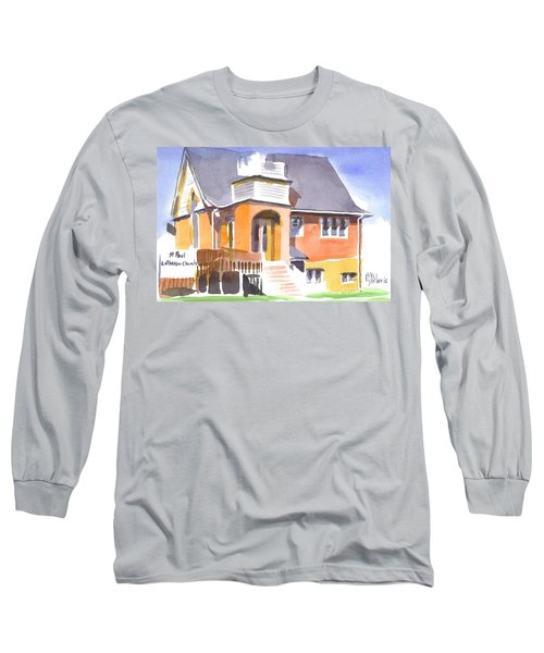 Long Sleeve T-Shirt featuring the painting St Paul Lutheran In Watercolor 2 by Kip DeVore