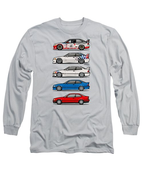 Stack Of Bmw 3 Series E36 Coupes Long Sleeve T-Shirt