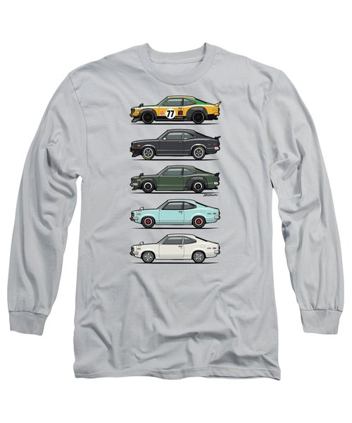 Stack Of Mazda Savanna Gt Rx-3 Coupes Long Sleeve T-Shirt by Monkey Crisis On Mars