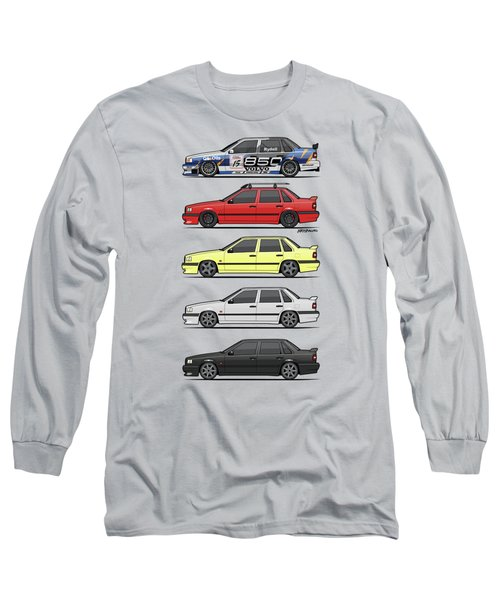 Stack Of Volvo 850r 854r T5 Turbo Saloon Sedans Long Sleeve T-Shirt