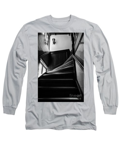 Stairway In Amsterdam Bw Long Sleeve T-Shirt by RicardMN Photography