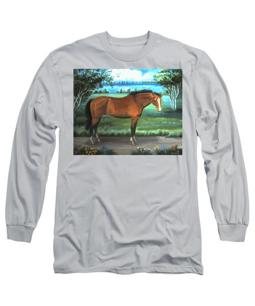 Long Sleeve T-Shirt featuring the painting Stallion Portrait by Dawn Senior-Trask