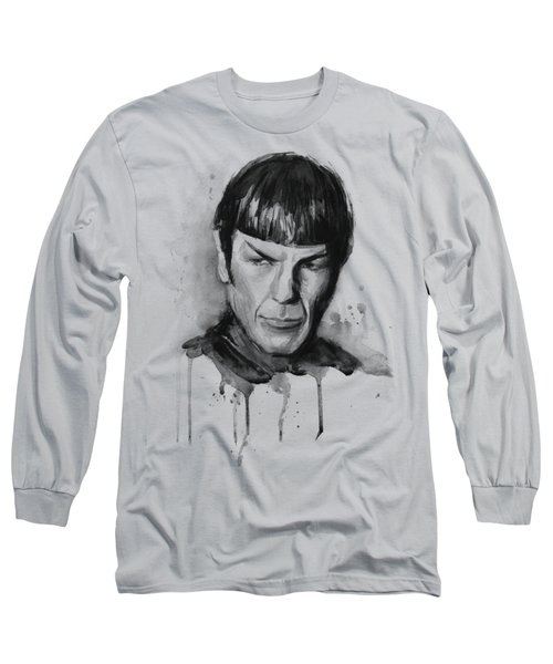 Star Trek Spock Portrait Sci-fi Art Long Sleeve T-Shirt by Olga Shvartsur